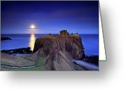 Horizon Over Water Greeting Cards - Moonrise Dunnottar Castle Aberdeenshire Scotland Greeting Card by Angus Clyne