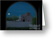 Moonrise Photo Greeting Cards - Moonrise on Tumacacori Mission Greeting Card by Sandra Bronstein