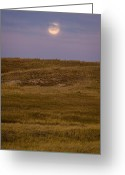 Prairie Greeting Cards - Moonrise Over Badlands South Dakota Greeting Card by Steve Gadomski