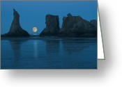 Stack Rock Greeting Cards - Moonrise Over Bandon Beach, Oregon Greeting Card by Russell Burden