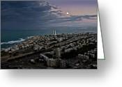 Autumn Roads Greeting Cards - Moonrise Over Haifa Bay Greeting Card by Nadya Ost