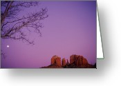 Urban Canyon Greeting Cards - Moonrise Over Oak Creek Canyon Greeting Card by Stockbyte