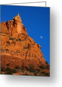 Soldier Photo Greeting Cards - Moonrise over Red Rock Greeting Card by Mike  Dawson