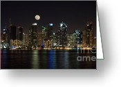 City Lights Greeting Cards - Moonrise over San Diego Greeting Card by Sandra Bronstein