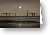 Moonrise Photo Greeting Cards - Moonrise Over Skyway Bridge Greeting Card by Steven Sparks