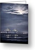 Moonrise Photo Greeting Cards - Moonrise Over Sunshine Skyway Bridge Greeting Card by Steven Sparks