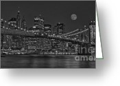 City And Colour Greeting Cards - Moonrise Over The Brooklyn Bridge BW Greeting Card by Susan Candelario