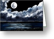 Moonrise Glass Art Greeting Cards - Moonrise Over Wingaersheek Greeting Card by EJ Lefavour