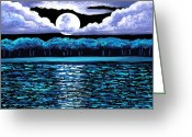 Moonrise Glass Art Greeting Cards - Moonrise Over Wingaersheek II Greeting Card by EJ Lefavour