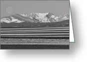 Moon Set Greeting Cards - Moons Set From The Colorado Plains BW Greeting Card by James Bo Insogna