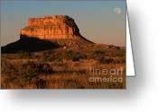 Natural Formation Greeting Cards - Moonset At Fajada Butte Greeting Card by Sandra Bronstein