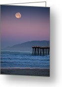Winter Greeting Cards - Moonset At Pismo Beach Greeting Card by Mimi Ditchie Photography