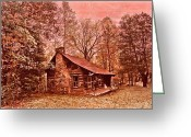 Stone Chimney Greeting Cards - Moonshine Greeting Card by Debra and Dave Vanderlaan