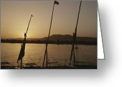 River Scenes Greeting Cards - Moored Feluccas On The Nile River Greeting Card by Kenneth Garrett