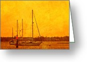 Image Overlay Greeting Cards - Mooring Buoys Greeting Card by Barry Jones