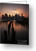 Manhattan Sunset Greeting Cards - Mooring Eve Greeting Card by Andrew Paranavitana