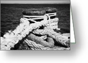 Mooring Greeting Cards - Mooring Ropes On Old Metal Harbour Bollard Scotland Greeting Card by Joe Fox