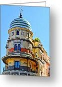 Portico Greeting Cards - Moorish Tower with HDR processing Greeting Card by Mary Machare