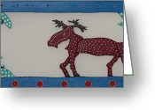 Canada Posters Mixed Media Greeting Cards - Moose Coming Home For Christmas Greeting Card by Robert Margetts