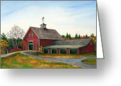 Weathervane Greeting Cards - Moose Hill Barn Greeting Card by Elaine Farmer