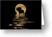 Colorado Mixed Media Greeting Cards - Moose in the Moonlight Greeting Card by Shane Bechler