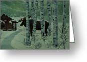 By Barbara St. Jean Greeting Cards - Moose Lake Greeting Card by Barbara St Jean