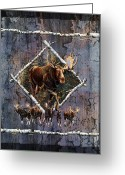Antlers Greeting Cards - Moose Lodge Greeting Card by JQ Licensing