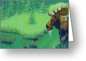 Woods Pastels Greeting Cards - Moose Greeting Card by Tracy L Teeter