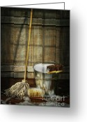 Scrub Greeting Cards - Mop with bucket and scrub brushes Greeting Card by Sandra Cunningham