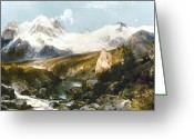 Snow Capped Painting Greeting Cards - Moran: Teton Range, 1897 Greeting Card by Granger