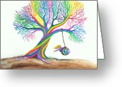 Enchanted Greeting Cards - More Rainbow Tree Dreams Greeting Card by Nick Gustafson