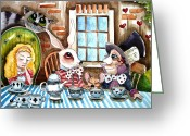 Hatter Greeting Cards - More tea Greeting Card by Lucia Stewart
