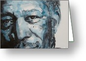 Icon  Painting Greeting Cards - Morgan Freeman Greeting Card by Paul Lovering