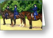 Bay Horse Greeting Card Greeting Cards - Morgan Horses In Lineup  Greeting Card by Olde Time  Mercantile