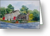 Log Cabins Painting Greeting Cards - Morgan House Greeting Card by Bill Dinkins