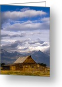 Teton National Park Greeting Cards - Mormon Barn Morning Greeting Card by Joseph Rossbach