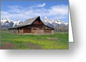Snow Capped Photo Greeting Cards - Mormon Barn Tetons Greeting Card by Douglas Barnett