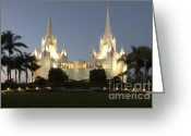 Spaniards Greeting Cards - Mormon Cathederal San Diego 2 Greeting Card by Bob Christopher