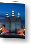 Christmas Lights Greeting Cards - Mormon Temple Christmas Lights Greeting Card by Utah Images