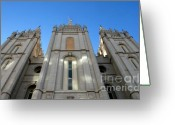 Angel Moroni Greeting Cards - Mormon Temple Greeting Card by David Lee Thompson