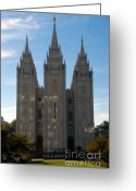 Angel Moroni Greeting Cards - Mormon Temple Fall Greeting Card by David Lee Thompson
