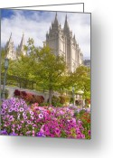 Architecture Greeting Cards - Mormon Temple Salt Lake City Greeting Card by Utah Images
