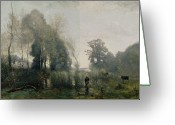 1796 Greeting Cards - Morning at Ville dAvray Greeting Card by Jean Baptiste Camille Corot