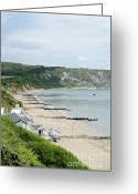 Seascape Greeting Cards - MORNING BAY Pt looking up Swanage Bay on a summer morning beach scene Greeting Card by Andy Smy