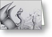 Pencil Drawing Digital Art Greeting Cards - Morning Bellow Greeting Card by Robert Ball