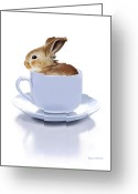White Digital Art Greeting Cards - Morning Bunny Greeting Card by Bob Nolin