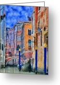 Gondola Digital Art Greeting Cards - Morning Calm in Venice Greeting Card by Jeff Kolker