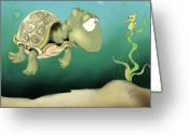 Sea Life Art Greeting Cards - Morning Chat Greeting Card by Hank Nunes