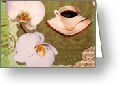 Decorative Art Pyrography Greeting Cards - Morning Coffee Greeting Card by Irena Orlov