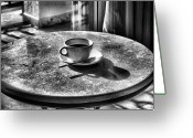 Round Table Greeting Cards - Morning Coffee Greeting Card by Jimmy Ostgard